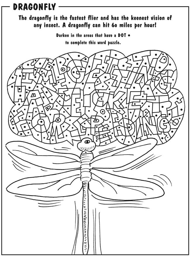 """Bugs Printable Activity Dover Publications (when done it spells out """"I'm getting a ticket for speeding!"""")"""