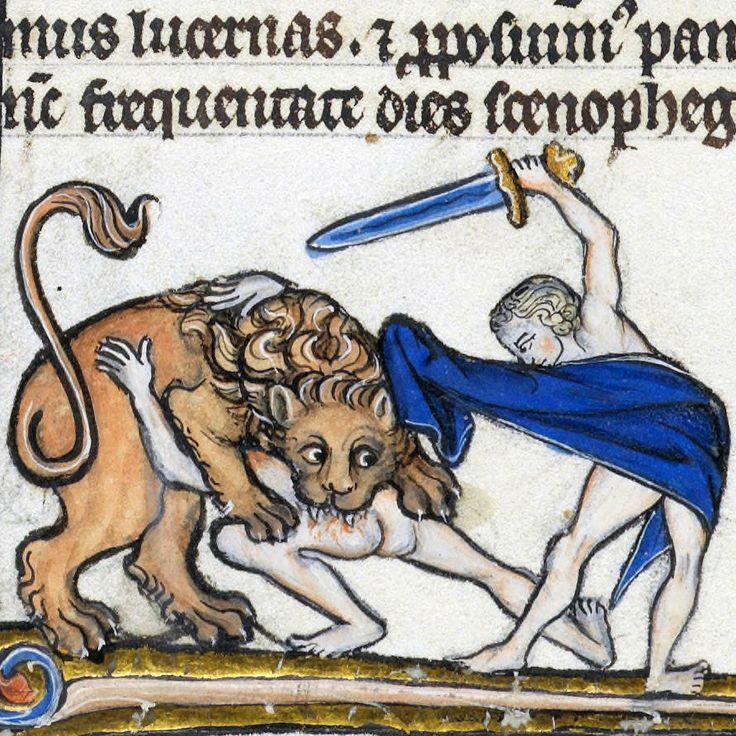 maneater Biblia porta, France 13th century Lausanne, Bibliothèque cantonale et universitaire de Lausanne, U 964, fol. 376r