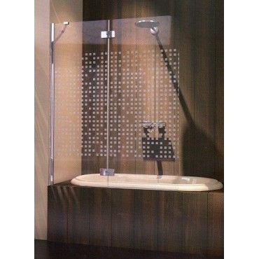 MAMPARA BAÑERA FRONTAL UNA HOJA ABATIBLE con ducha y azulejos madera