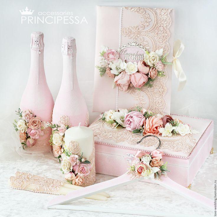 """Купить """"Персиковые цветы"""" свадебный набор - кремовый, Аксессуары для волос, аксессуары для свадьбы, Аксессуары handmade"""