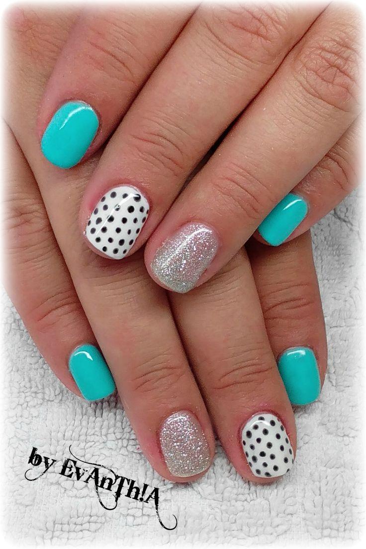 #nails  #prettynails #polkadots #white #black #silver #lightblue #shortnails #gelpolish #manicure #cmarso #by_Evanthia