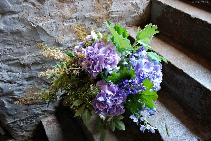 Bukiet, Kwiatów, Hortensje, Schody, Ściana