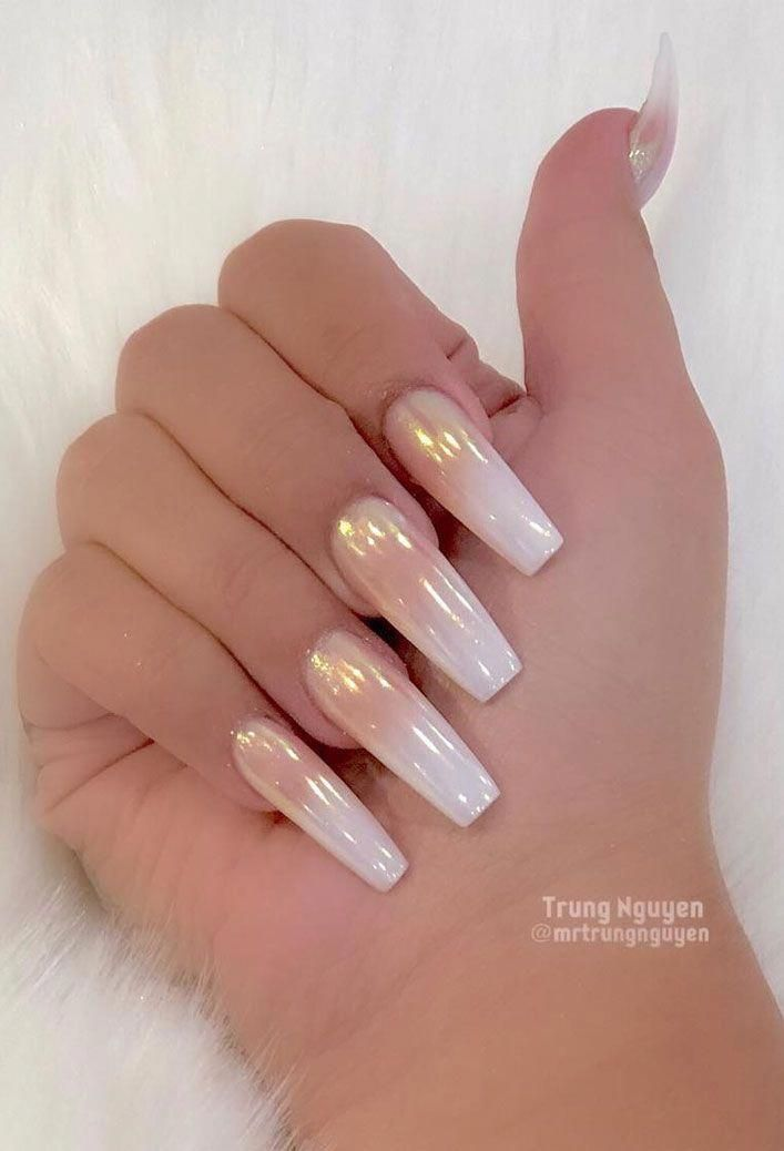 40 Fabulous Nail Designs That Are Totally In Season Right Now Clear Nail Art Designs Almond Nail In 2020 White Acrylic Nails Colored Acrylic Nails Best Acrylic Nails