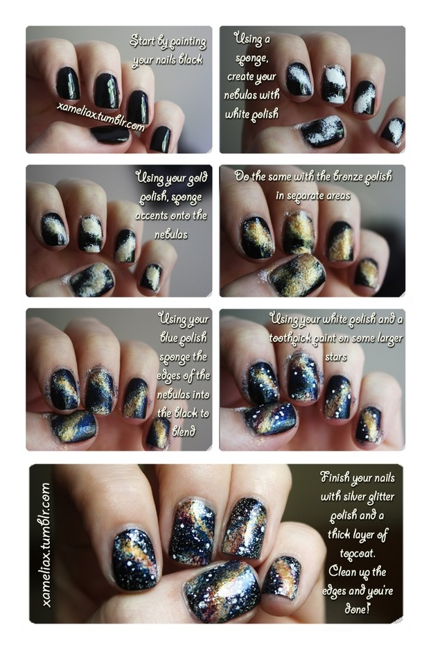 Galaxy Nails | How To. (Also can put purple glitter on after base coat)