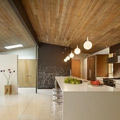 modern kitchen by Ainslie-Davis ConstructionLights, Mid Century Modern, Chalkboard Walls, Interiors, Wood Ceilings, Modern Kitchens, Midcentury, Modern Home, Chalkboards Wall
