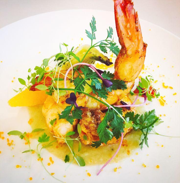Pan fried king prawns, orange, fennel & botargo salad (gf)