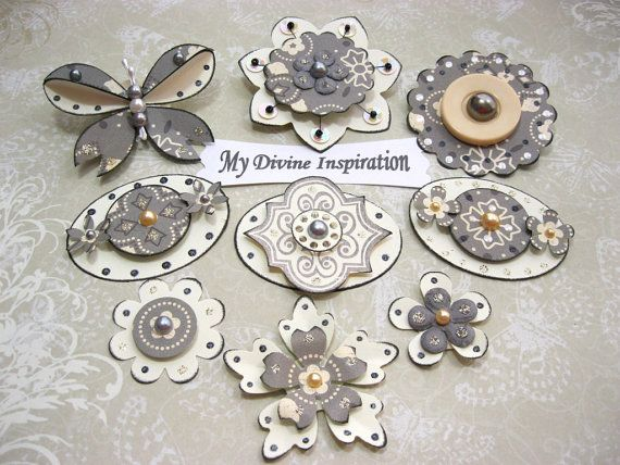 Creamy Collection light Grey Scrapbook Paper Embellishments and Paper Flowers