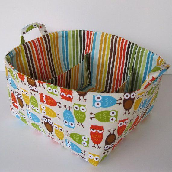 READY TO SHIP - Diaper Caddy - Fabric Organizer Storage Bin Basket  - with Dividers - Bermuda Owls via Etsy