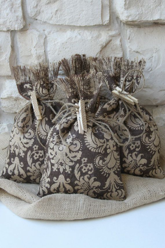 Commercially Printed Damask Burlap Bags Is On The Front Of Bag Only Back Are Solid Chocolate Brown