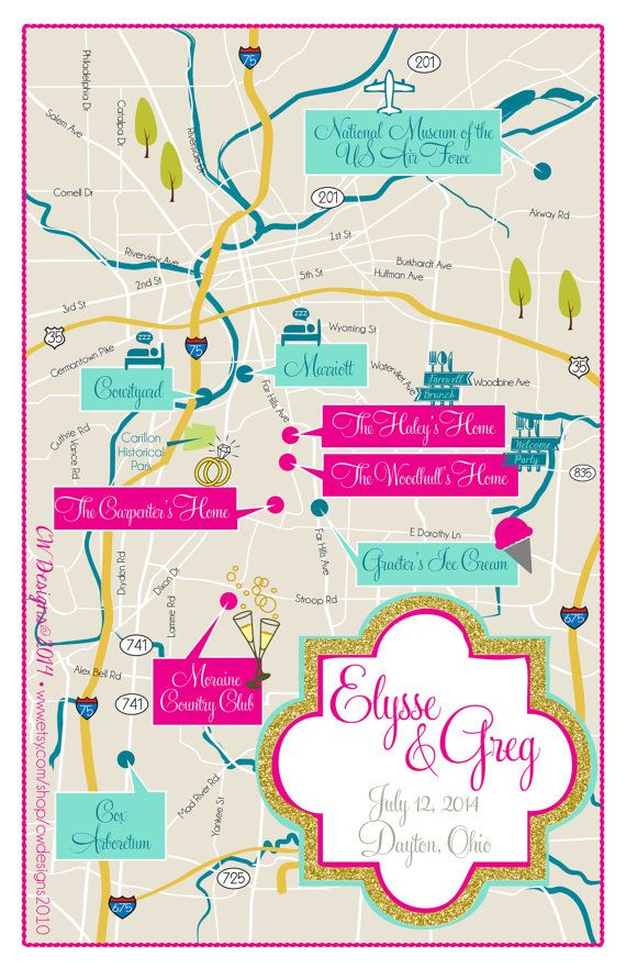 Wedding Invitations Dayton Ohio: Dayton Ohio Wedding Map By Cwdesigns2010 On Etsy