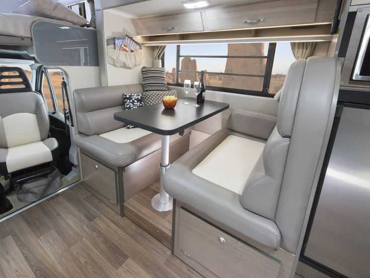 Enjoy a comfortable meal indoors. Park up, extend the slide out room and feast in the dinette. This model pictured is the Esperance C7923SL.