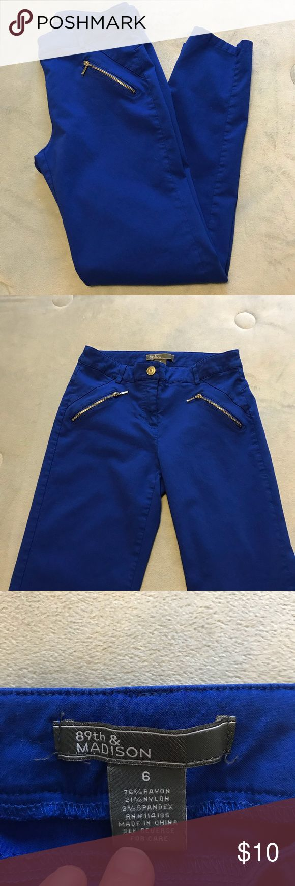 Cute bright blue dress  pants Adorable pants, so cute with high heels and a simple white t-shirt. EUC 89th & Madison Pants Ankle & Cropped