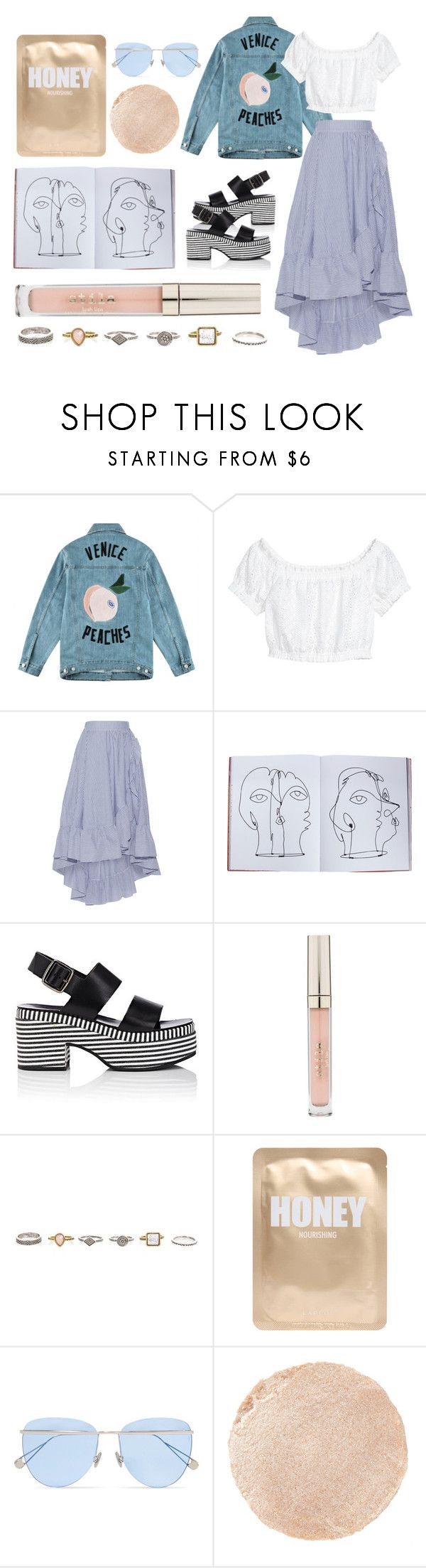 """""""Venice Peaches"""" by boosterann ❤ liked on Polyvore featuring Être Cécile, Maje, Assouline Publishing, Barneys New York, Stila, Lapcos, Sunday Somewhere, Wander Beauty, casual and pretty"""