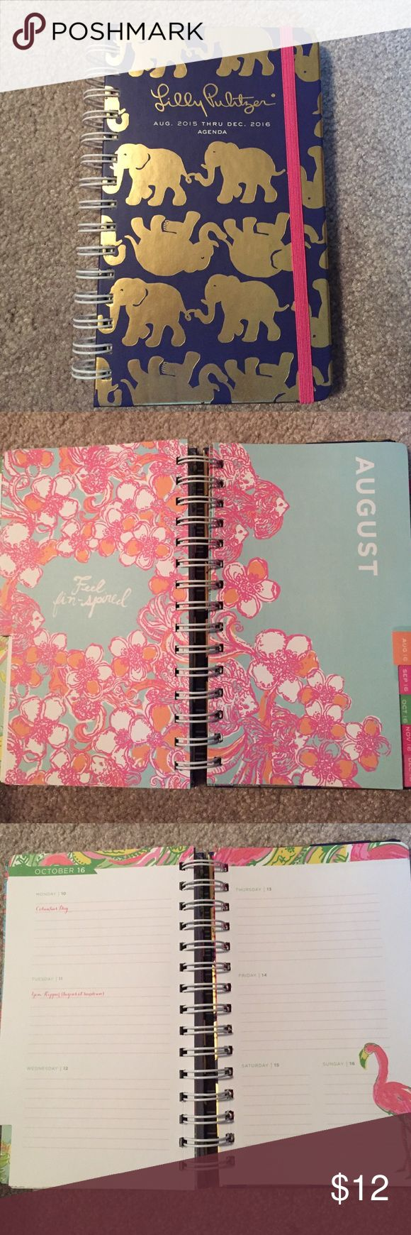 New 2016 Tusk in Sun Lily Pulitzer Agenda Only used for a few days in August 2015! Useable through December 2016! Medium size- Perfect condition, no wrinkling, stickers missing etc. Lilly Pulitzer Accessories