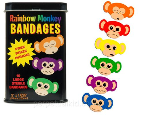 RAINBOW MONKEY BANDAGES  Each metal tin contains ten vinyl, adhesive bandages with sterile gauze and a FREE TOY!  Note:  This product contains natural rubber latex which may cause allergic reactions.
