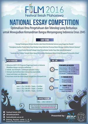 #Lomba #Menulis #Essay #FILM #UNS #Solo FILM - Festival Ilmiah Mahasiswa 2016 National Essay Competition  DEADLINE: 15 Februari 2016  http://infosayembara.com/info-lomba.php?judul=film-festival-ilmiah-mahasiswa-2016-national-essay-competition