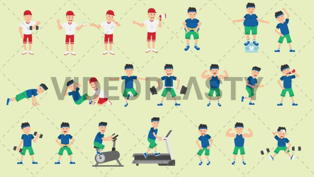 A full pack of 21 character actions of male fitness characters such as normal man working out a fat man and a coach. Each item is also sold separately. Includes: Coach Lifting Dumbbells Coach Using a Stopwatch Coaching Using a Whistle Coach Yelling Fat Man Measuring Waist Fat Man On a Weighing Scale Man Doing Pushups Man Doing Situps Man Doing Warmup Exercises Man Doing Yoga Man Drinking Water Man Flexing Muscles Man Jogging Man Lifting Barbell Man Lifting Dumbbells Man Measuring His Waist…