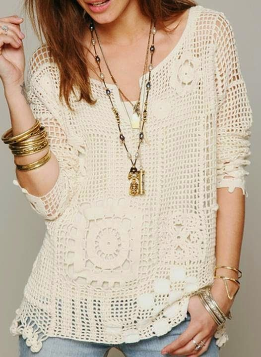 Crochet Free Form Patchwork Inspired Free People Fall Pullover ...