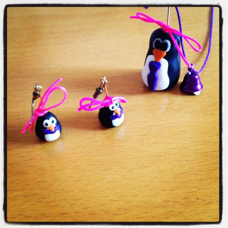 Penguins earrings and necklace #fimo !