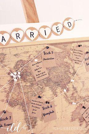 diy wedding decoration ideas: world map wedding seating chart in vintage travel look | Hochzeitsdeko selbermachen: Sitzordnung als Weltkarte / Sitzplan zur Hochzeit im Vintage Travel Look