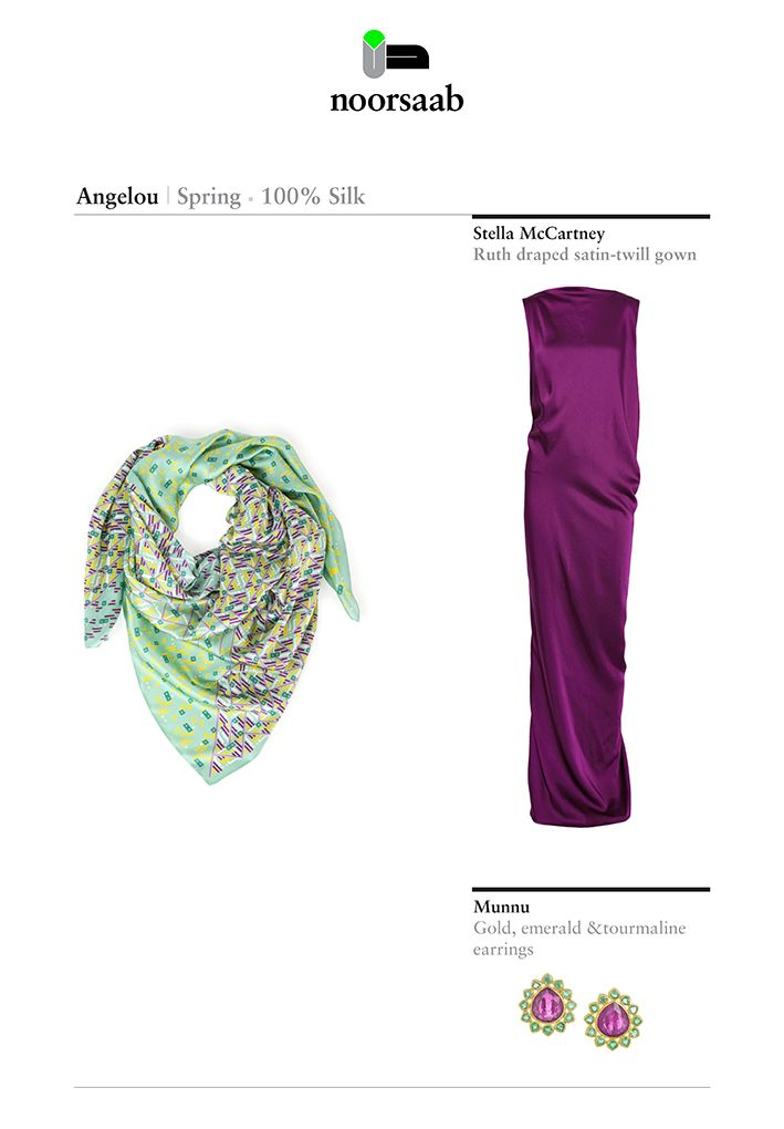 Angelou Spring scarf - For a glamorous look, wear it with a red purple gown and emerald/tourmaline earrings