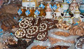 Tradicional Algarve fig cakes found in Olhão market, Algarve, Portugal