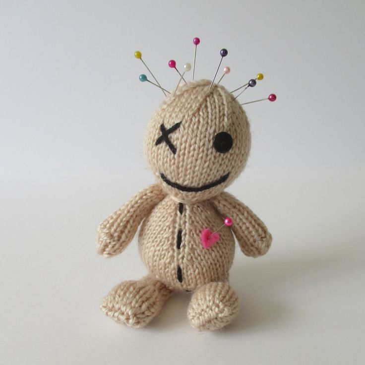 Had a bad day? My prescription is to add several pins into this little knitted voodoo doll pin cushion until you feel better! And when not needed for stress relief, it makes a handy pincushion.