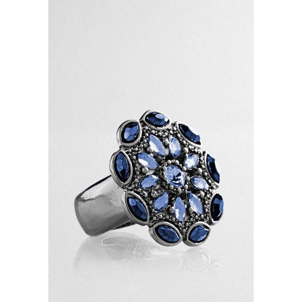 Avenue Stone Floral Stretch Ring ($10) ❤ liked on Polyvore featuring jewelry, rings, navy, plus size, floral ring, imitation jewellery, floral jewelry, avenue jewelry and stone jewellery