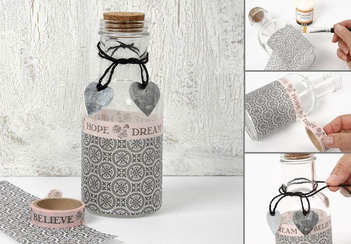 DIY Flaske med korkprop Decoupage  Maskingtape  Metal hjerte