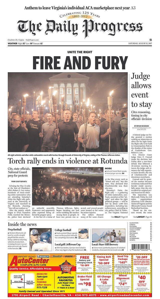Charlottesville newspaper headline