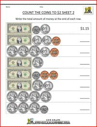 2nd grade money worksheets - counting money to $2 sheet 2