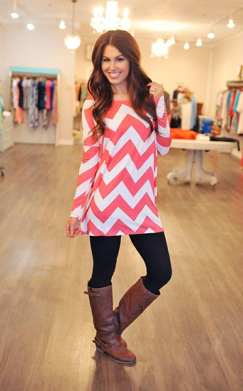 Dottie Couture Boutique - Chevron Tunic- Coral, $38.00 (http://www.dottiecouture.com/chevron-tunic-coral-1/):