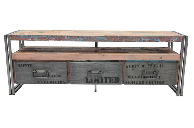 Treasured Interiors - TV Unit - Industrial style with distressed wash finish. $1,025