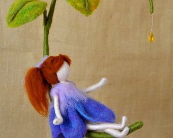 Room  Decor Needle Felted wool doll   : Purple flower by MagicWool