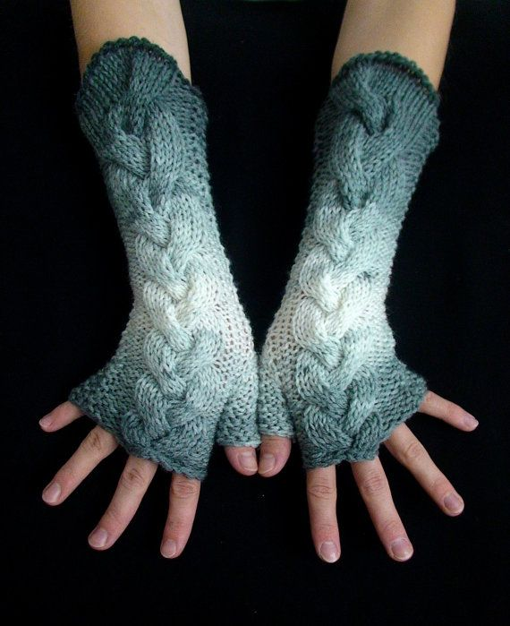 Fingerless Gloves Grey White Shades Cabled  Acrylic Arm Wrist