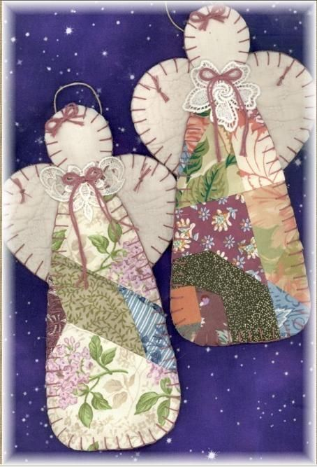 angel ornaments using patchwork from old quilts and blocks