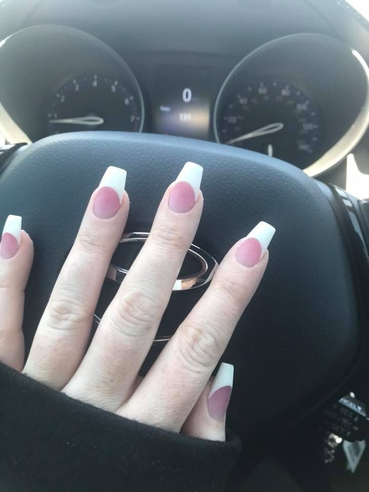 Solar Nails, White Tip, Pink and White, Matte Topcoat, Coffin Nails ...