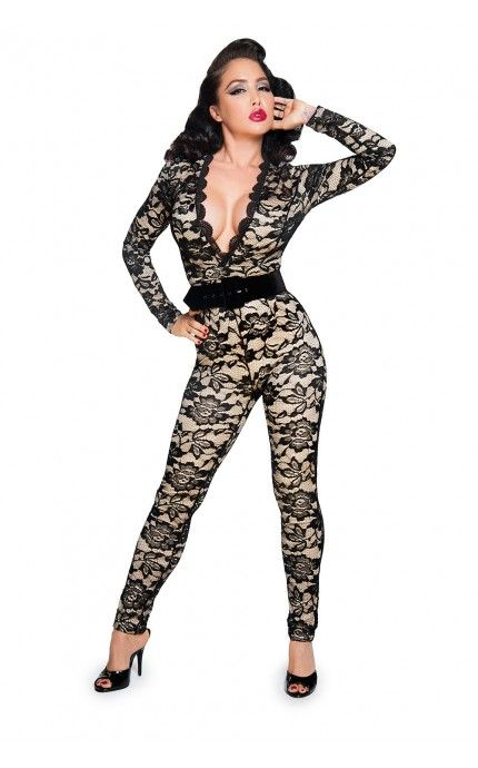 Pinup Girl Clothing- Laced Up Jumpsuit in Black | Pinup Girl Clothing~~ Now just need that bod!