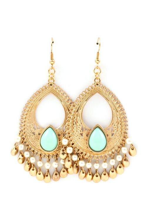 Minty Boho Chandelier Earrings