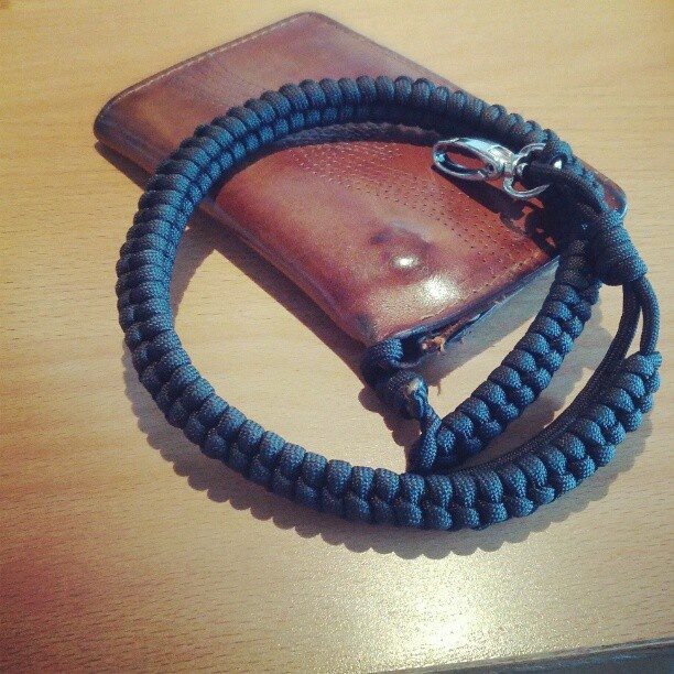 Paracord wallet rein that I made. Took about 30 feet of 550 paracord.