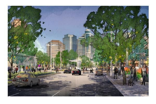 Rendering Uptown Houston bus stops