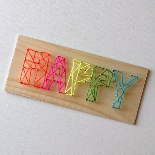 Nail and Yarn String Art: use wood and mint colored yarn to match color (or white)