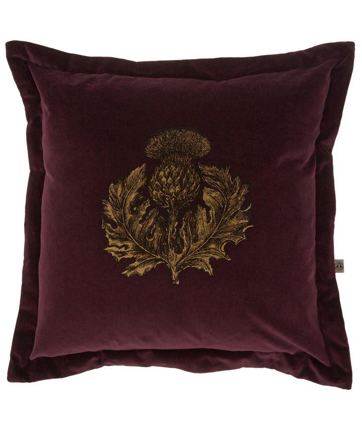 Timorous Beasties Purple Thistle Print Velvet Cushion | Cushions by Timorous Beasties | Liberty.co.uk