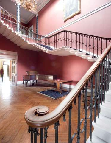 Grand cantilevered staircase. Rise Hall, Yorkshire. Wedding venue, UK.