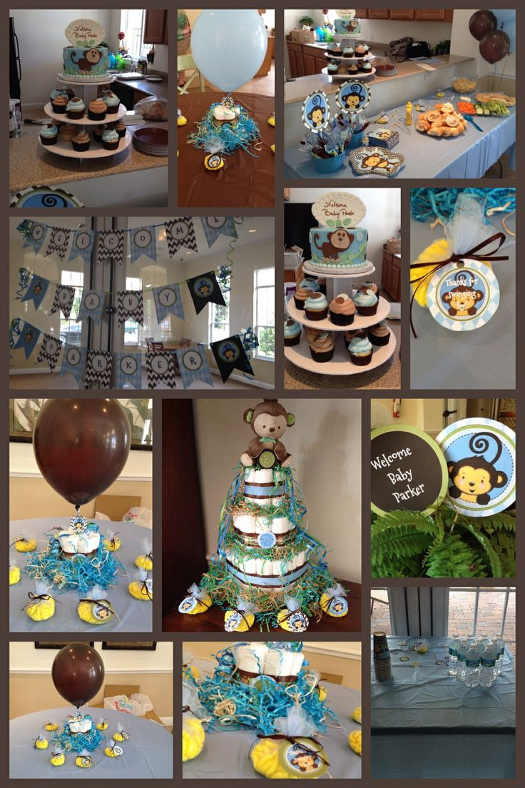 Monkey boy baby shower theme blue green brown - Baby shower monkey decorations for a girl ...