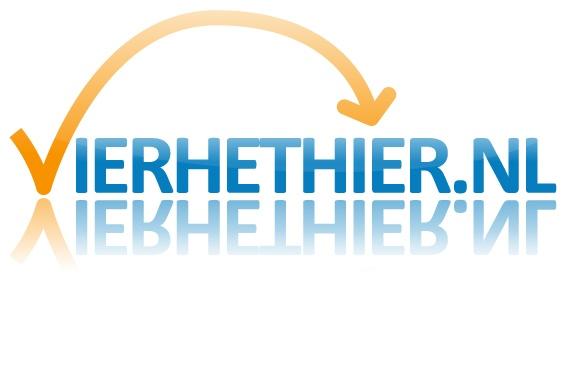 Het logo van www.vierhethier.nl. Een concept waarbij je in een paar klikken je feest in elkaar zet!