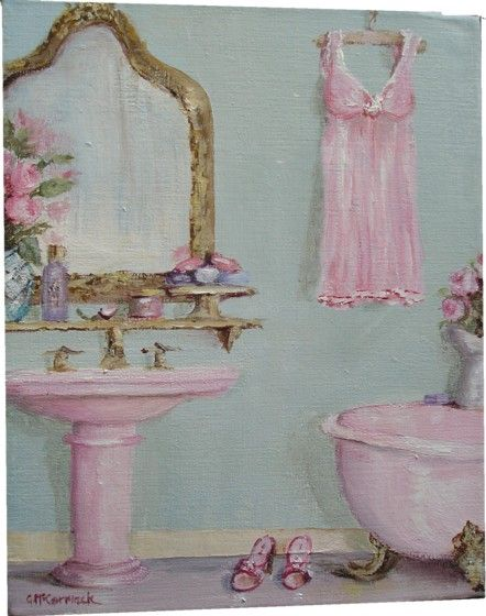 Original Whimsical Painting - Shabby Chic Claw Footed Bath - Postage is included Australia Wide