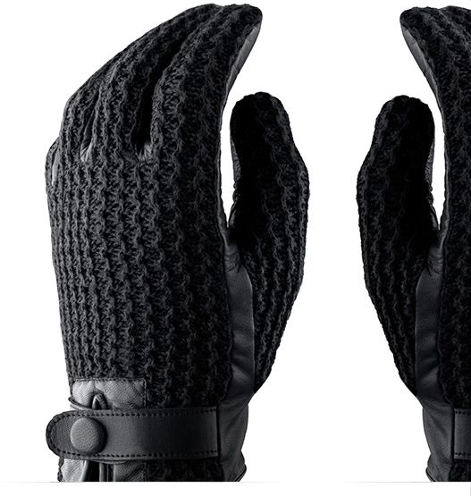 Leather Crochet Touchscreen Gloves, winter gloves for touch screens e.g. iPhone and Galaxy by Mujjo