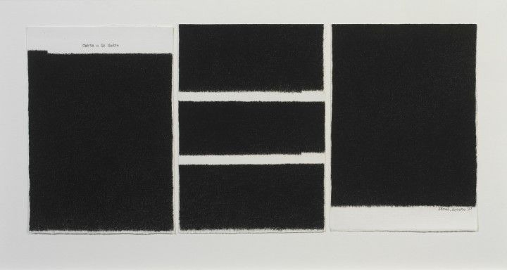 Elena del Rivero, Letter to the Mother, 1993, ink on paper, 3 sheets, each 9 x 6 ½ inches (22.9 x 16.5 cm). © 2013 Artists Rights Society (ARS), New York / VEGAP, Madrid / Photo: Ellen McDermott