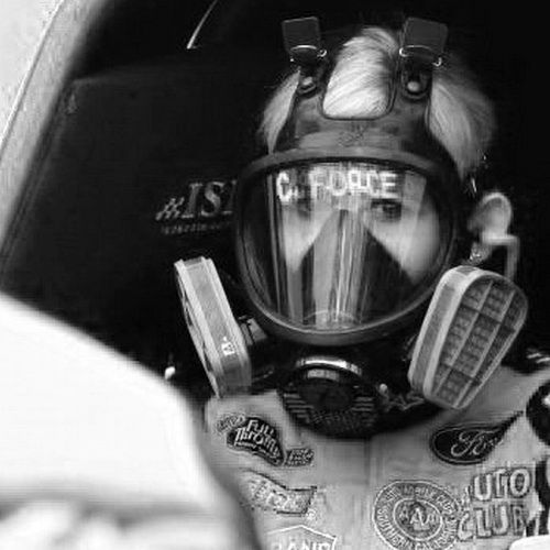 Courtney Force looks great with a Gasmask strapped to her Face